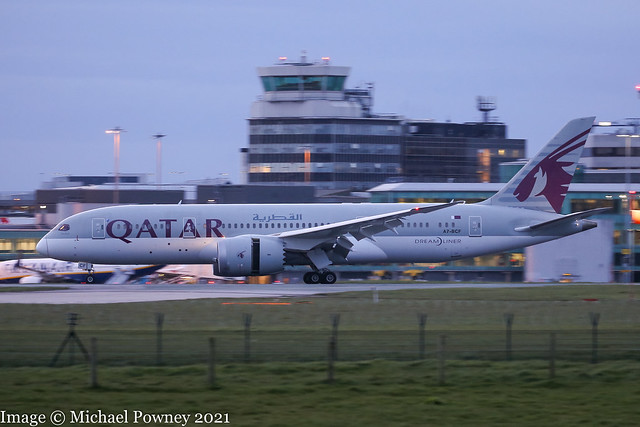 A7-BCF - 2013 build Boeing B787-8, evening arrival on arriving on Runway 23R at Manchester