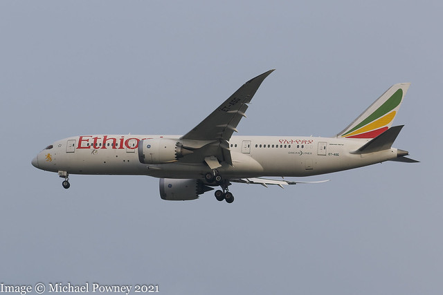 ET-ASG - 2014 build Boeing B787-8, on approach to Runway 23R at Manchester