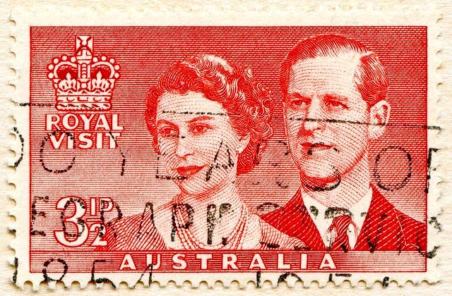 * in memory Prince Philip, Duke of Edinburgh, R.I.P.*  3 1/2p (Queen Elizabeth & Prince Philip, Royal Visit Australia,1954) great stamp Australia postzegel Australië postes timbre Australie γραμματόσημα Αυστραλία bélyeg Ausztrália 切手 オーストラリア Австралия