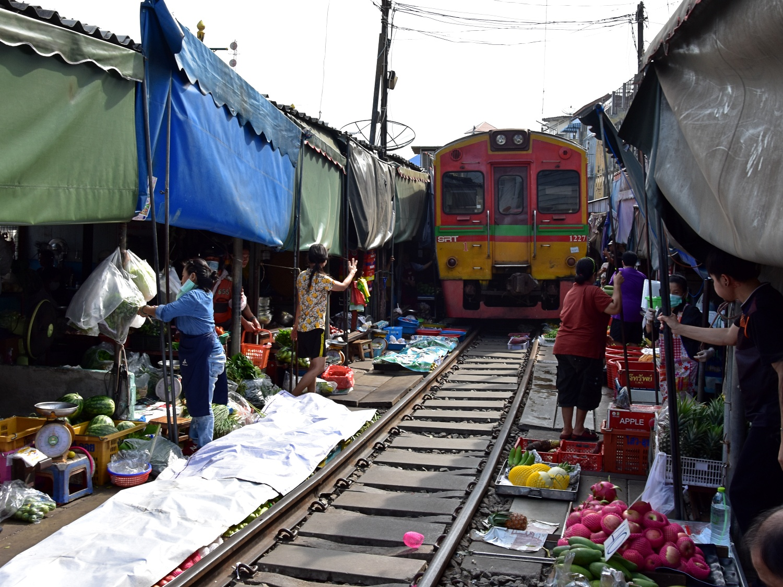 Maeklong Railway train passing