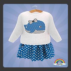 ((RBS)) Dotty Whale LongTop (Blue)