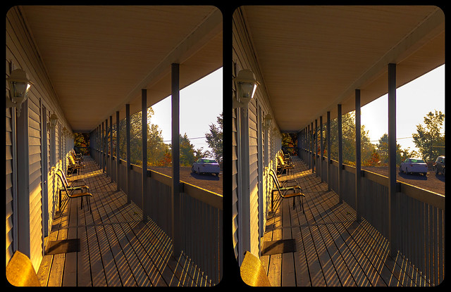 Motel porch 3-D / CrossView / Stereoscopy