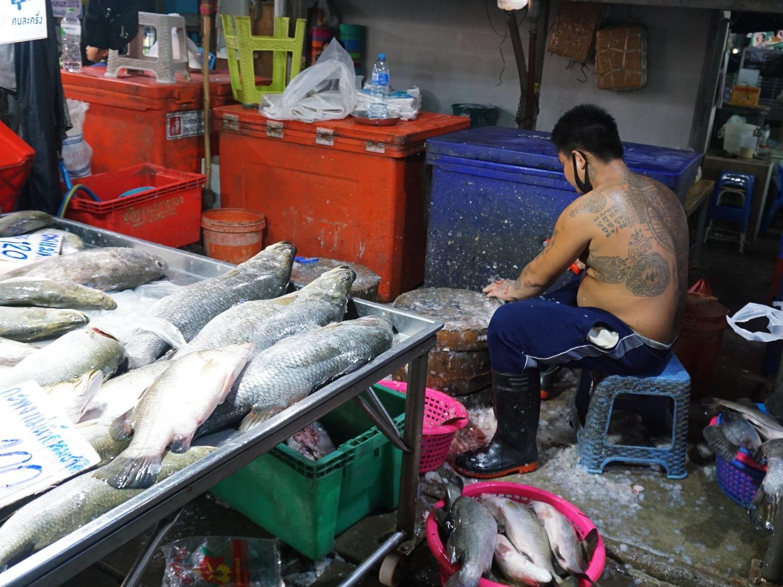 Maeklong Railway Market fish
