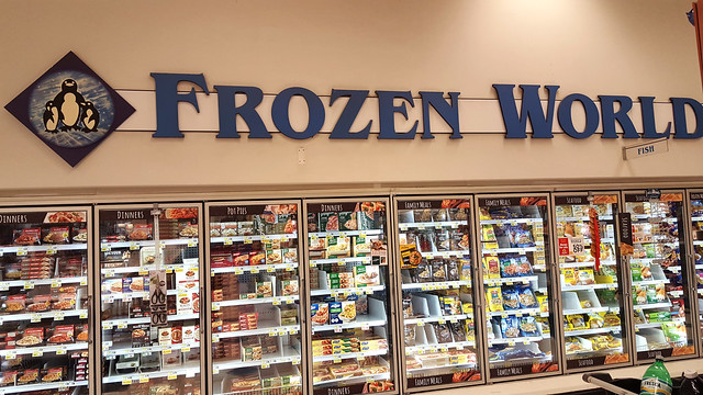 One of my favorite supermarket signs of all time. Simple, obvious and yet very accurate. Whoever thought of it was a marketing genius. Speaking of Frozen World, please check out my Flickr friend's photos from a REAL world of cold! The link's below.