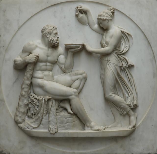 Bertel Thorvaldsen (Copenaghen, 17 novembre 1770 – Copenaghen, 24 marzo 1844) - Ercole e Ebe - bassorilievo in marmo altezza 74,5 x 75,5 cm - Biblioteca Pinacoteca Ambrosiana Milano