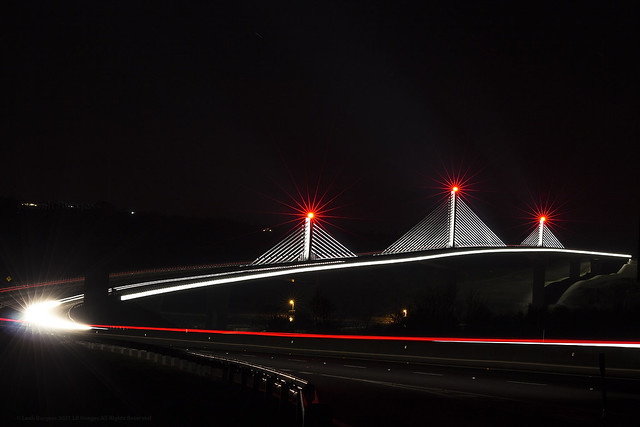Light trails on the Rose Fitzgerald Kennedy Bridge