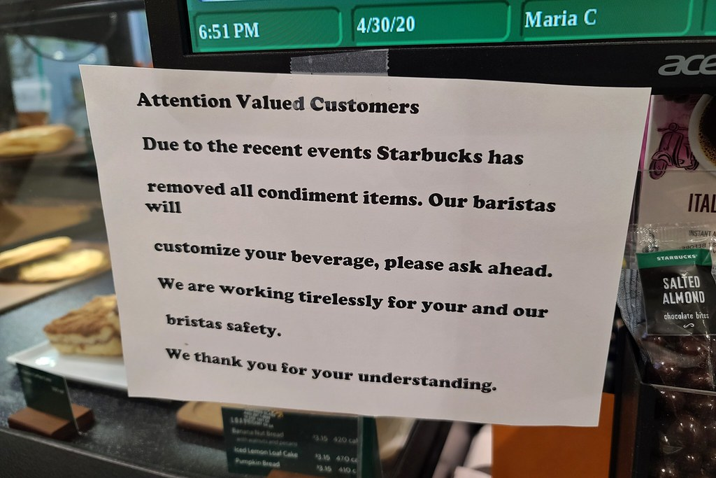 No self-serve condiments at Starbucks