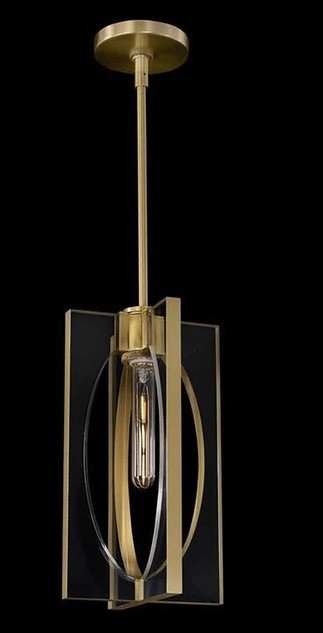 John Richard Genesis: Acrylic and Antique Brass Single Droplight | Pendant Lights At Grayson Luxury
