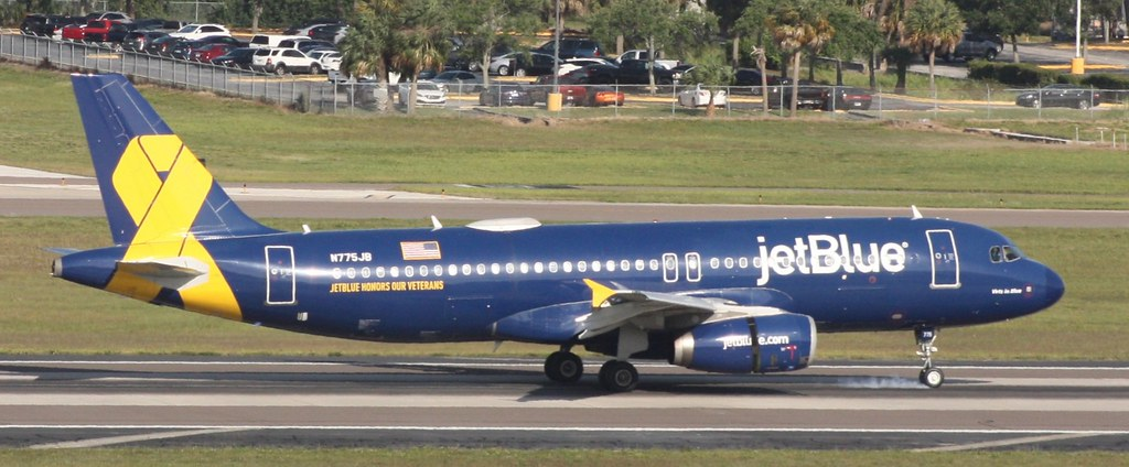 """JetBlue Airbus A320-232 N775JB """"Vets in Blue"""" (Veterans livery) at Tampa International Airport"""