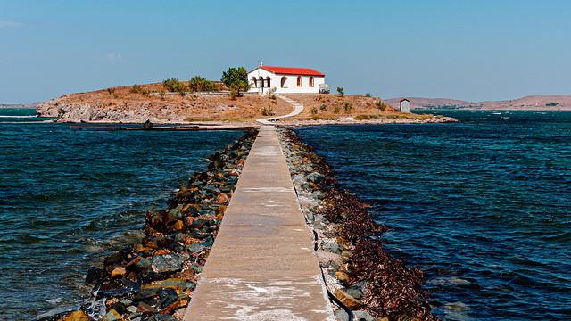 Small Greek Chapel -  Ekklisia Agios Nikolaos (Patron Saint of Mariners)  Bay of Moudros (Limnos - Greece) (Fuji Velvia 50)  (Olympus OM-D EM1.3 &  Lecia Summilux 10-25mm f1.7 Zoom)
