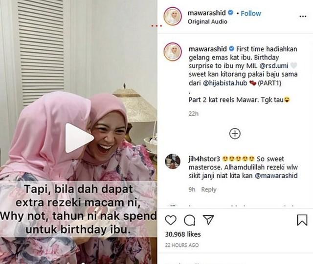 Mawar Rashid Hadiahkan Gelang Emas Sempena Hari Lahir Ibu Mentua