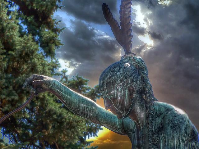 Denver Colorado - State Capitol - Sculpture - Closing Era  - Buffalo & Indian