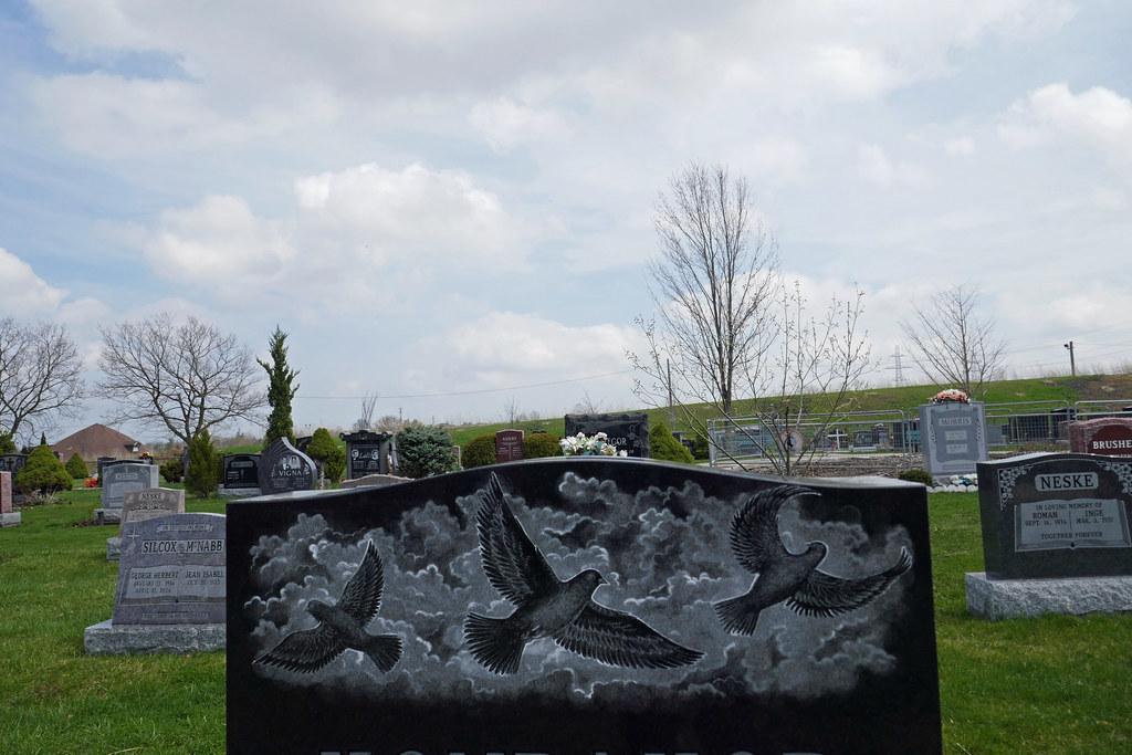 Three doves gravemarker etching Mount Hamilton Cemetery