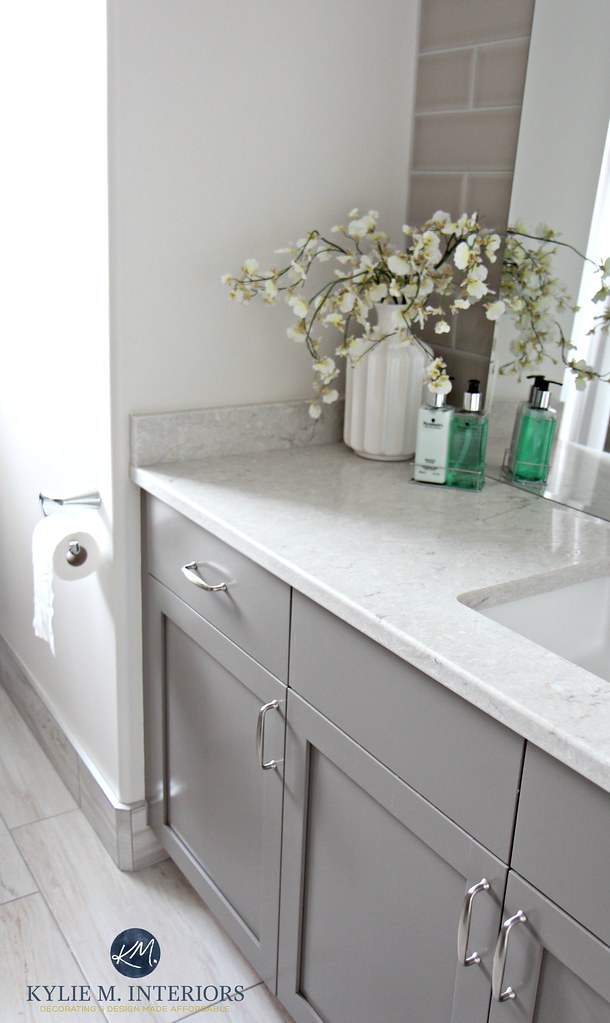 Benjamin-Moore-Classic-Gray-is-great-for-home-staging.-With-Escarpment-painted-vanity-and-Bianco-Drift-bathroom-countertop-by-Kylie-M-Interiors