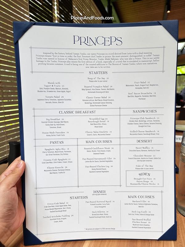 princeps bistro bukit tunku menu