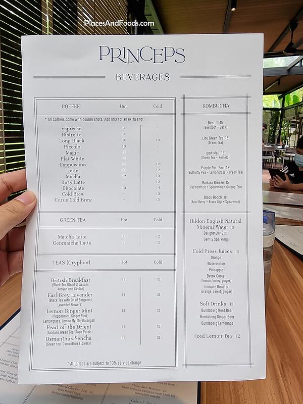 princeps bistro bukit tunku drinks menu