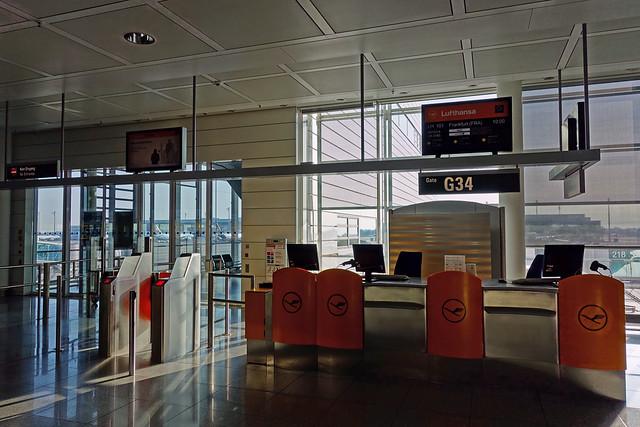 Gate G34  - Flight LH 101 from Munich to Frankfurt at Franz-Josef-Strauss International Aiport in Munich, Germany