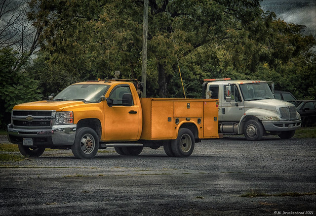 A Couple Trucks Parked Outside the town of Front Royal Virginia