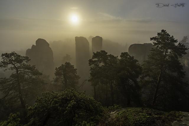 Rocks in a foggy veil