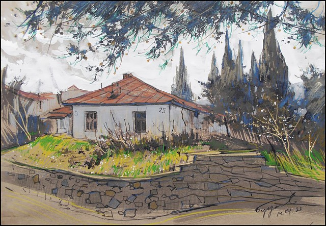 AN OLD ALUSHTA HOUSE (EN-PLEIN-AIR SKETCH)
