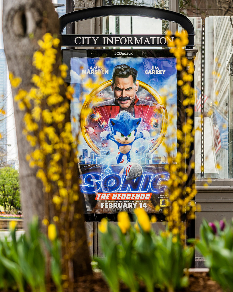 Leftover 2020 Sonic The Hedgehog Movie Poster on Michigan Ave Spring Tulips 2021