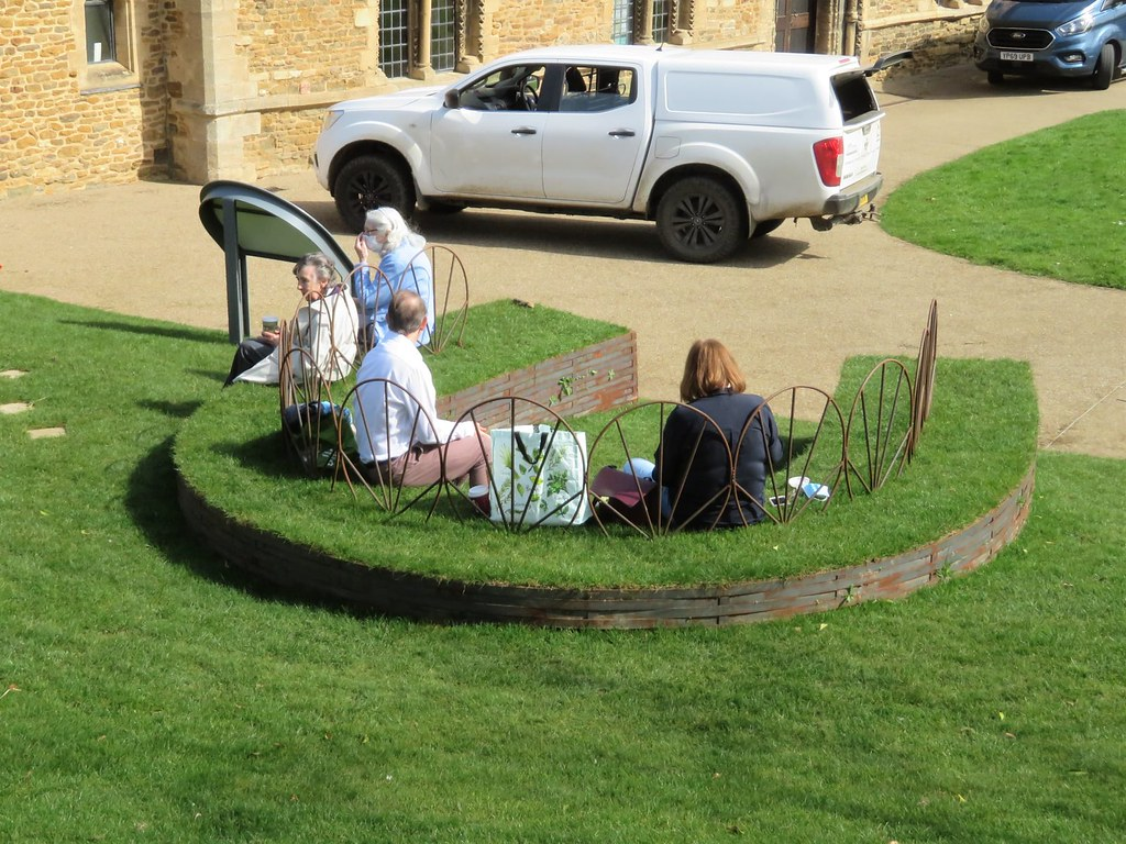 Grass Horseshoe Bench Sensory Garden Oakham Castle New Funded by Lottery Heritage Fund Oakham Rutland