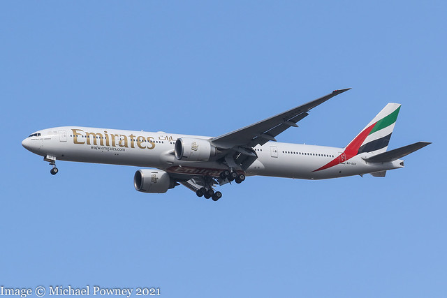 A6-EGF - 2011 build Boeing B777-31HER, on approach to Runway 23R at Manchester
