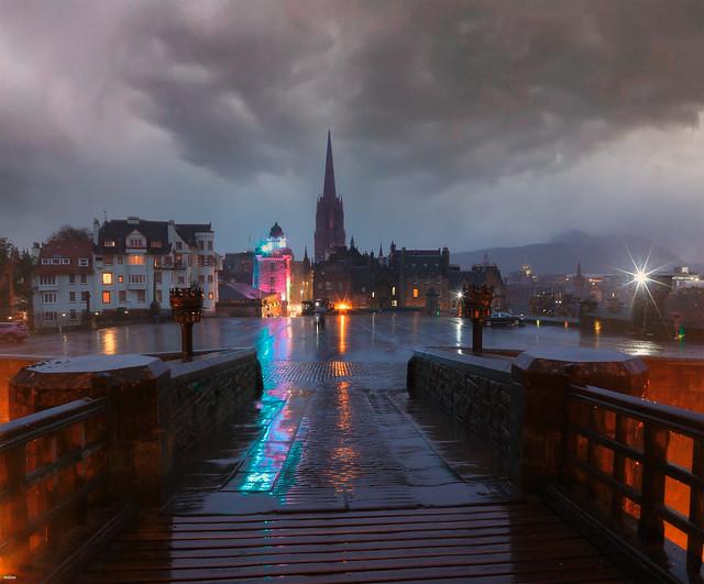 Rainy evening in Edinburgh