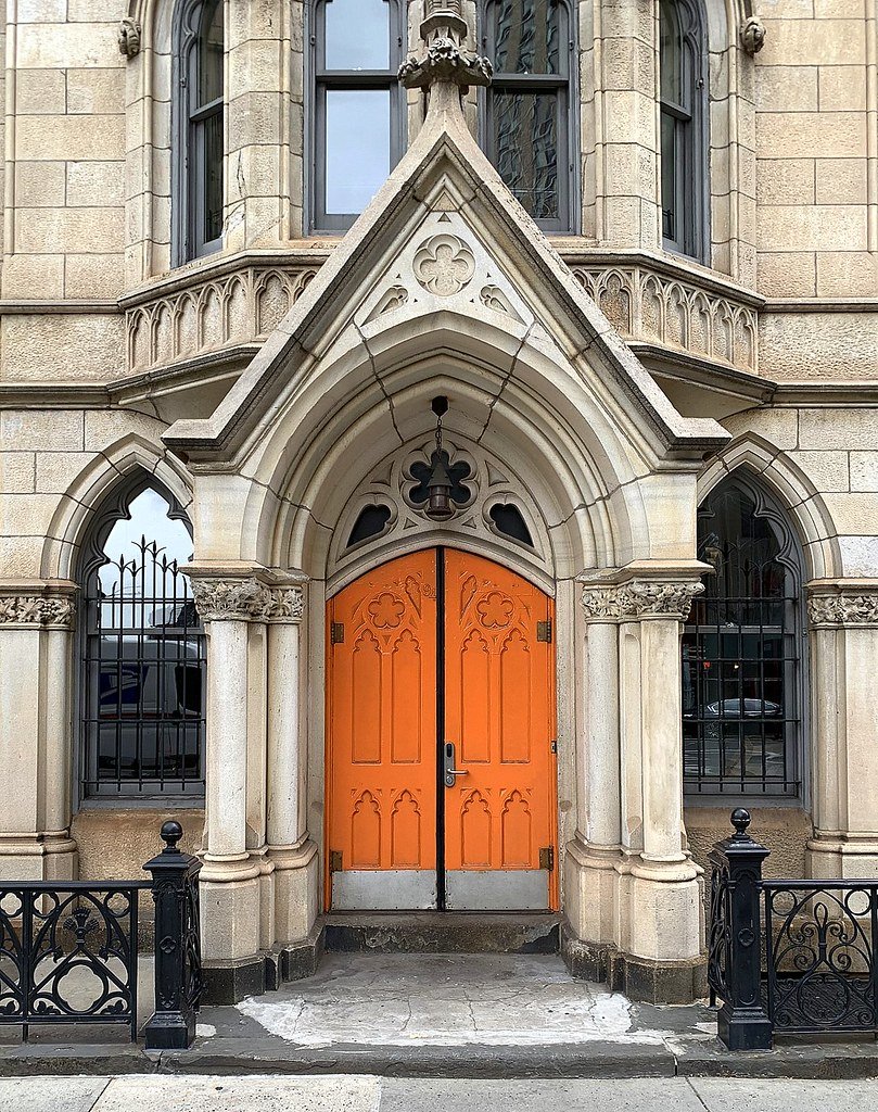 Orange door, Grace Church School, 86 Fourth Ave., New York City