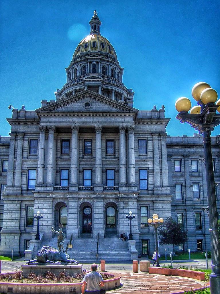 Colorado State Capitol ~ Denver Colorado - Buffalo Sculpture - Entrance - Indian & Buffalo