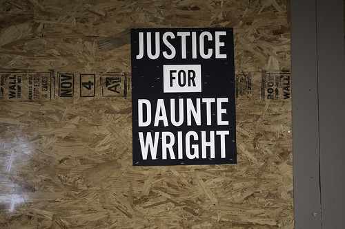 A Justice For Daunte sign on a boarded up business in Brookly Center, Minnesota