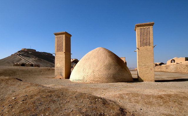 Mysterious desert ruins and wind catchers of Zoroastrian graveyard, Yazd, Iran