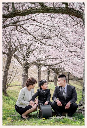 小学校入学記念の家族写真 桜並木の下で ランドセルも