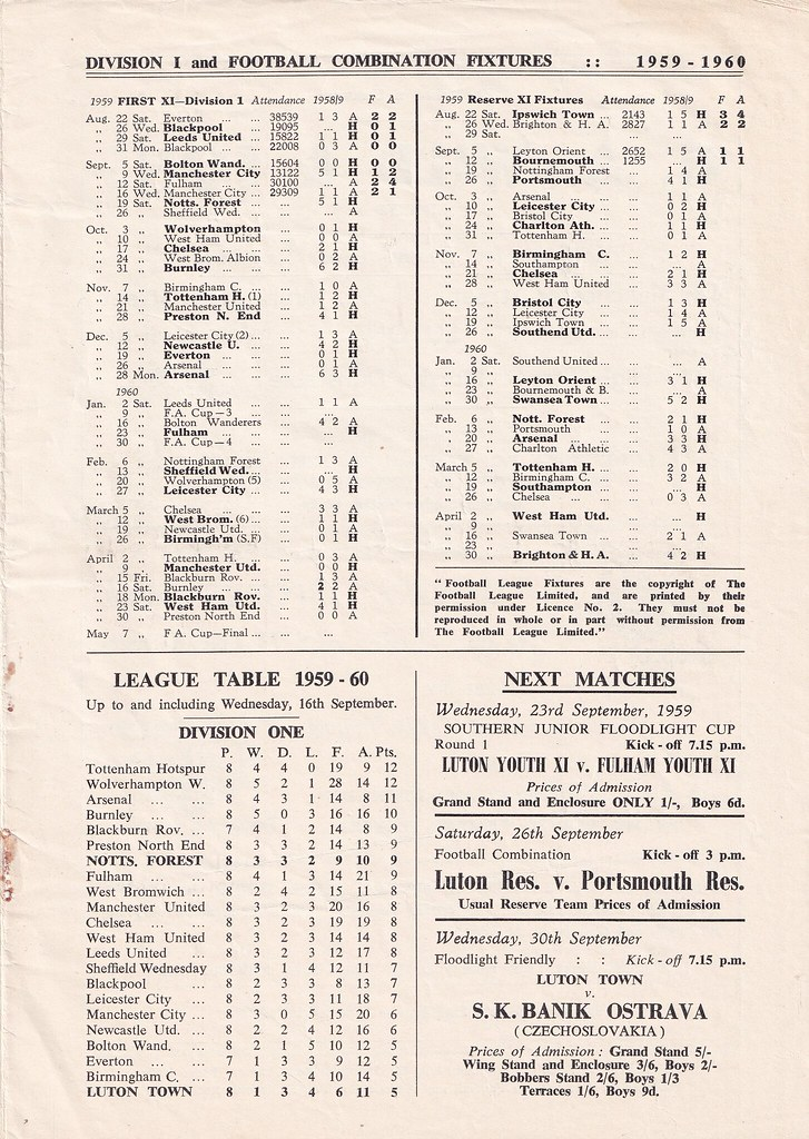 1959/60 Luton Town v Nottingham Forest