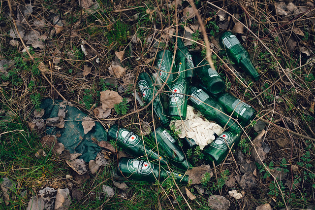 Glass beer bottles piled on the ground in the forest