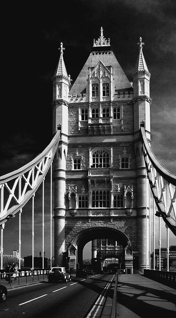 Monochrome view of Tower Bridge, London