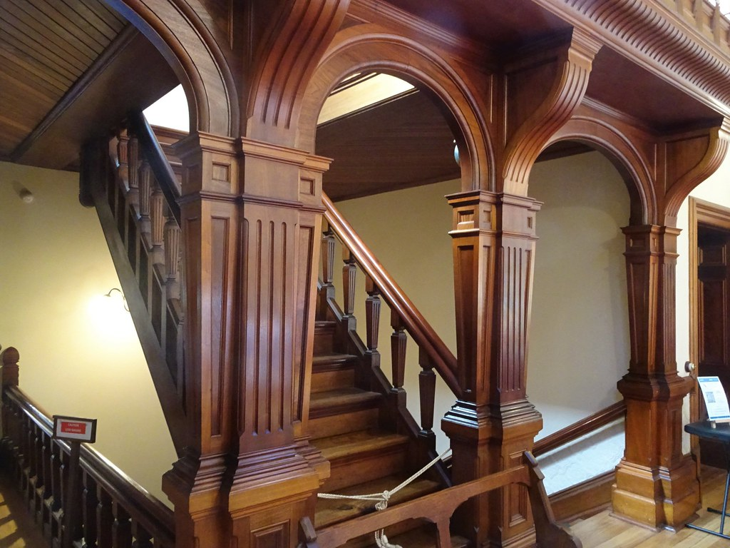 Urrbrae House. Arts and crafts stairs to the musicians gallery . House built in 1891 for Peter Waite of Paratoo sheep station near Yunta.