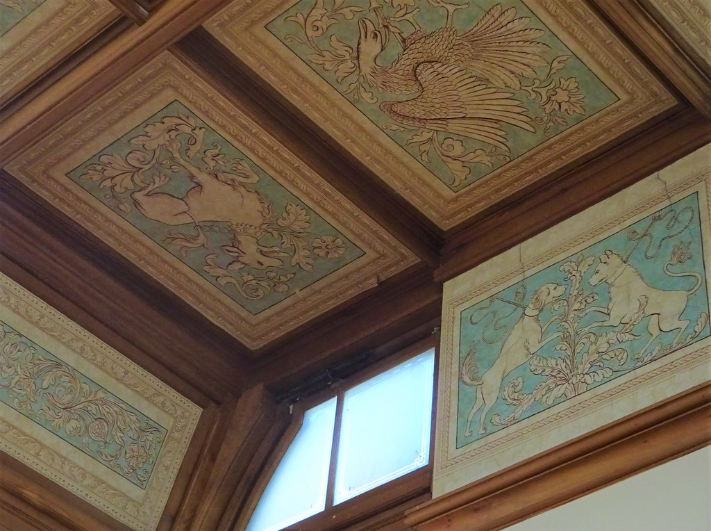 Urrbrae House  Sth Aust. Ceiling panels in the grand hall with the music gallery. Urrbrae House built for Scottish born pastoralist Peter Waite in 1891.He bought the small original Urrbrae House in 1874. Demolished for this to be built.