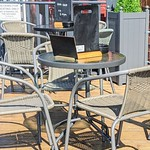 Chairs and tables out at the Tulketh Tap Room, Ashton, Preston