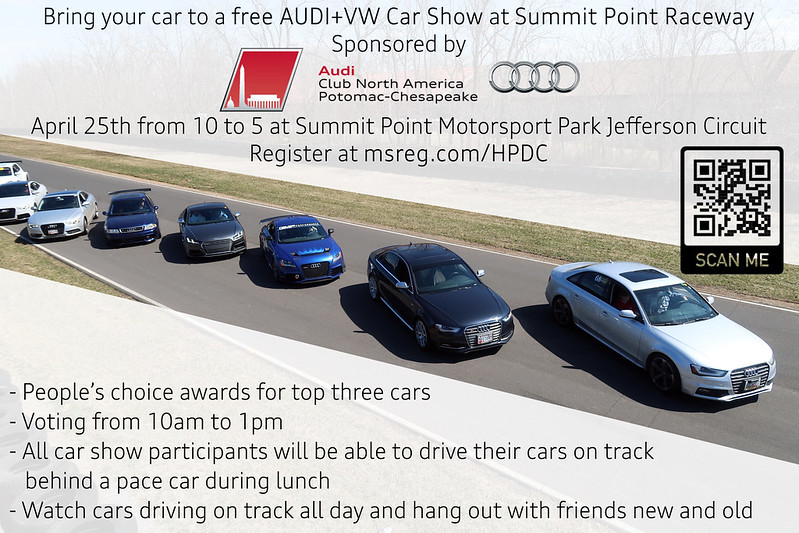 Come join our Audi+VW car show on April 25th!