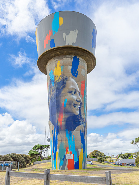 Warnambool Water Tower Art 'Our Story Mural' By Claire Foxton