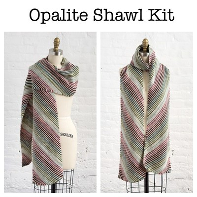 The Opalite Shawl was designed by Sarah E. Chapman originally for LYS Day 2020 (April 2020) which was cancelled. It is a beautiful striped wrap that is a study in colour illusion!