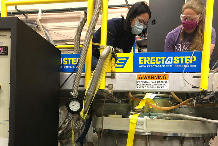 You Lai (left) and Johanna Palmstrom (right) use the new duplex magnet at the Los Alamos MagLab Pulsed Field Facility.