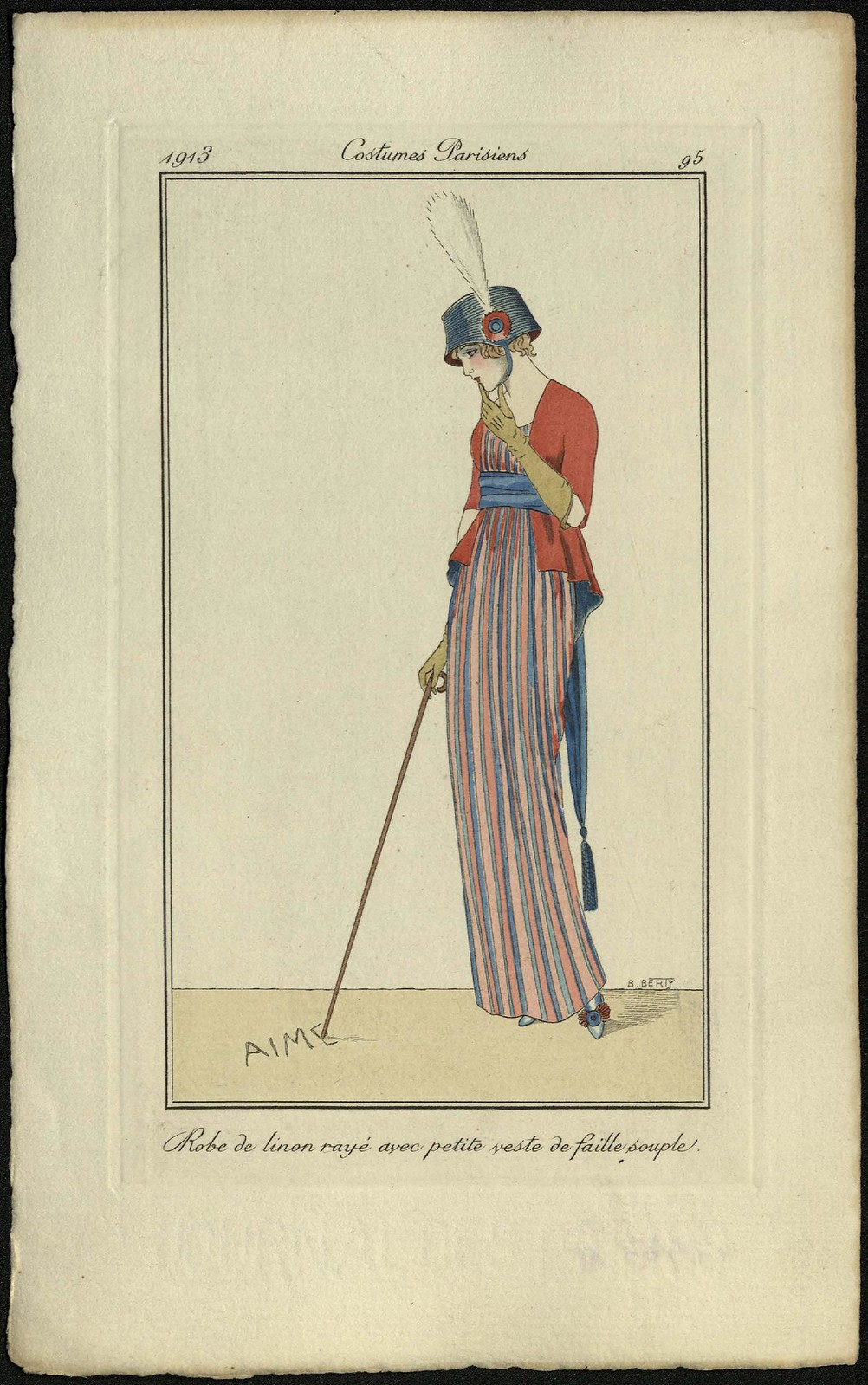 Платье из льна в полоску и небольшой мягкий жакет из фая