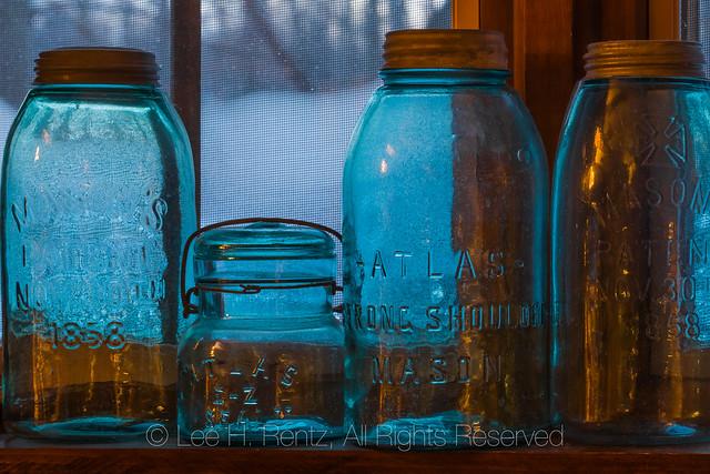 Old Mason Jars Catching the Winter Light