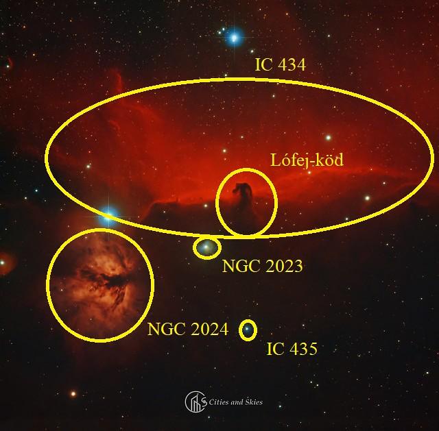 VCSE - A képen több mélyég-objektum is megfigyelhető, ezeket Csizmadia Szilárd jelölte be a képen. A Lüfej-köd sötétköd-katalógusokban is szerepel B33 (Barnard 33) néven. - Eredeti fotó: Budai Beáta, Paragi Zsolt