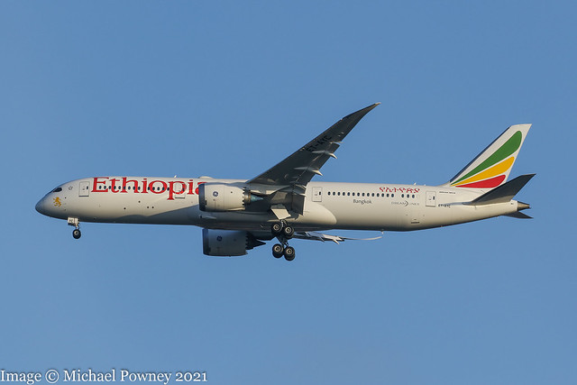 ET-AYC - 2020 build Boeing B787-9, on approach to Runway 23R at Manchester