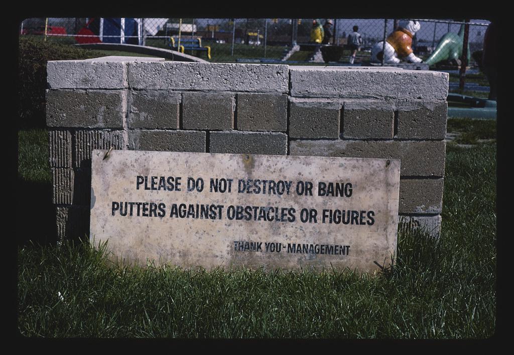 Hazard sign, Jawor's Fun Golf, Roseville, Michigan (LOC)