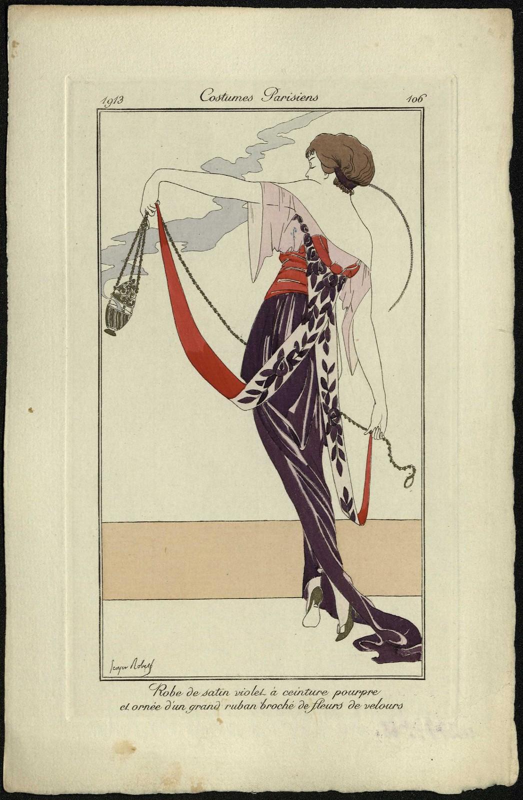 Пурпурное атласное платье с пурпурным поясом, украшенное большой лентой, расшитой бархатными цветами.