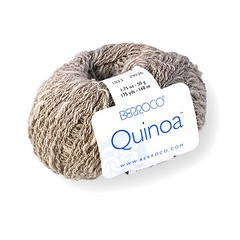 Berroco Quinoa is a thick and thin cotton that is wrapped with a nylon binder to create a slightly pebbled texture.